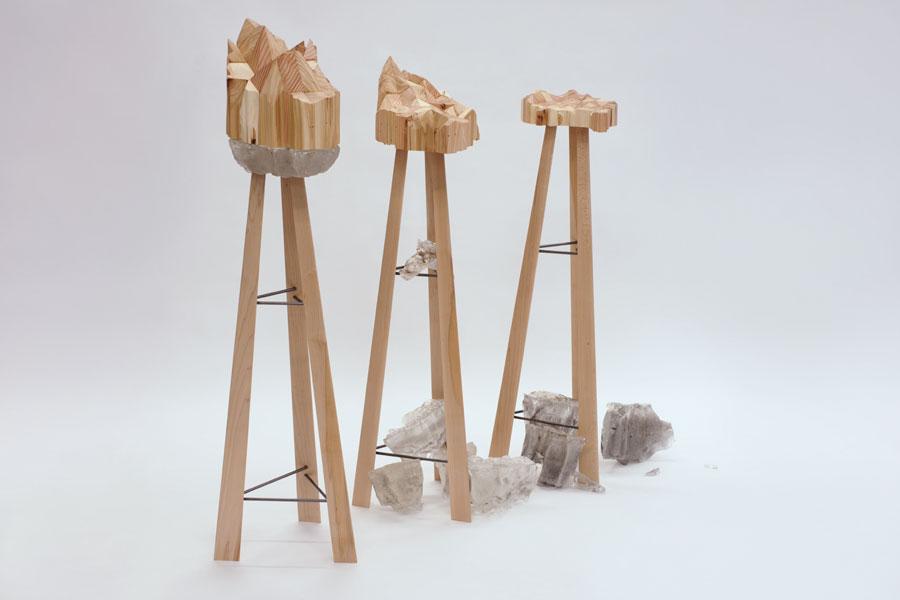 Oeuvre en bois, réalisé durant la formation collégiale technique en métiers d'art, option ébénisterie artisanale, à l'École d'ébénisterie d'art de Montréal.